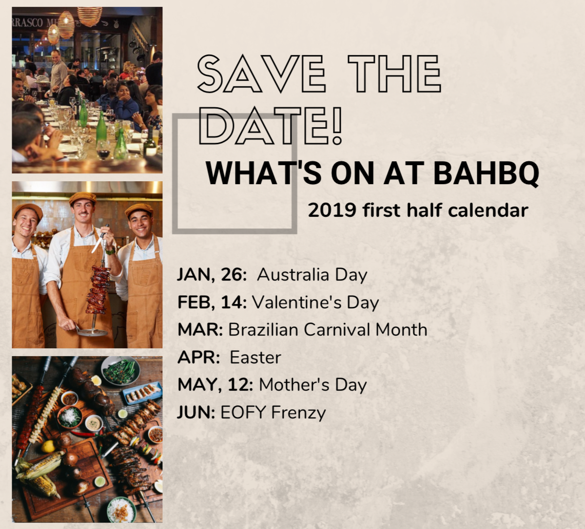 What's On at BahBQ in 2019